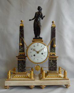 French Louis XVIth mantel clock in ormolu and marble by Gavelle L'aine a Paris