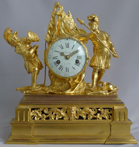 Antique French Louis XV ormolu clock of Hannibal and Scipio signed Amant