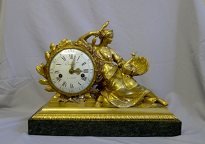 Antique mantel clock, French Louis XVI period ormolu signed Cronier a Paris on dial and movement.