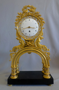 French Revolution/Directoire period ormolu and marble mantel clock