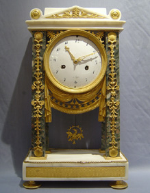 Antique French Directoire period mantel clock in ormolu & white & grey marble.