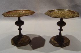 Pair Antique French patinated bronze tazzas.