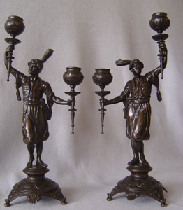 Blackamoor candelabra in patinated bronze, French late 19th century