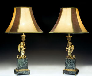Monumental French late 19th century marble & ormolu lamps