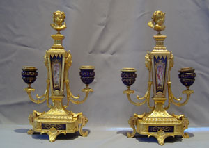 Pair antique French ormolu and jewelled porcelain candelabra.
