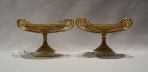 Antique gilt bronze tazzas, elegant with alabaster base.