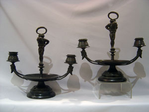 Antique French candelabra in Etruscan revival style.