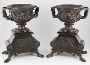 Pair antique French patinated bronze and marble Warwick vases