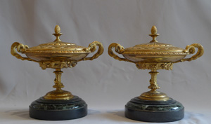 Pair antique gilt bronze and marble lidded tazzas.