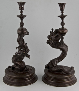 Japanese bronze candlesticks Meiji period.