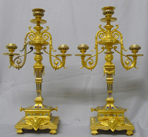 Antique Pair of ormolu and cloissonee candelabra in the manner of F. Barbedienne.