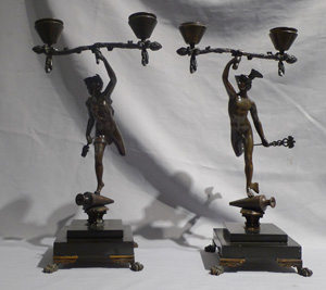 Antique candelabra of Grand Tour figures of Mercury and Flora