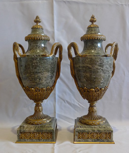 Antique French pair of marble and ormolu lidded urns stamped