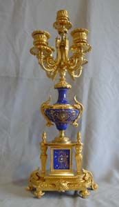 Antique French pair of candelabra in ormolu and blue du roi porcelain.