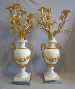 Antique candelabra, gilt bronze mounted white marble baluster shape.