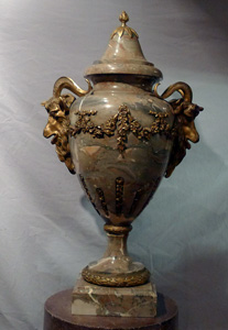 Massive pair of marble and gilt bronze mounted lidded urns