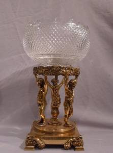 Antique French Napoleon III glass and gilt bronze centrepiece .