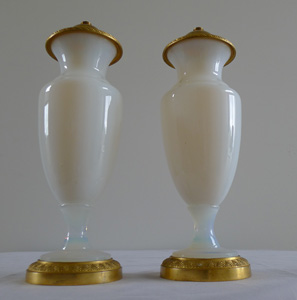 Pair of beautiful gilt bronze and opaline glass vases.