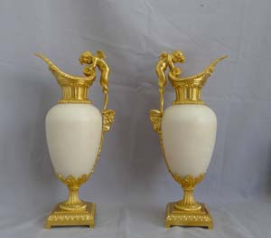 Antique Pair of French ormolu and white marble decorative ewers of outstanding quality.