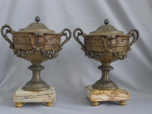 Antique pair of pewter Urns on marble base