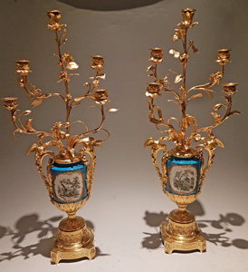 Pair of Large Antique French ormolu and Porcelain Candelabras