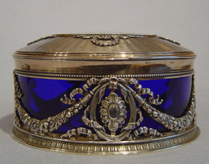 Antique silver & glass box with inset miniature on ivory.