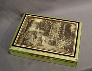 Antique Austrian Silver, guilloche enamel box with engraving on ivory and watercolour on ivory.