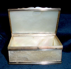 Antique English 18th century silver and engraved mother of pearl box.