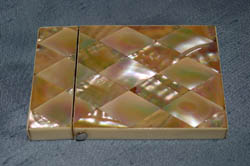 Antique French Napoleon III Mother of pearl and ivory card case.