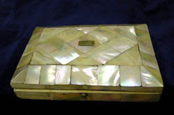 Antique French Napoleon III mother of pearl and ivory sewing box.