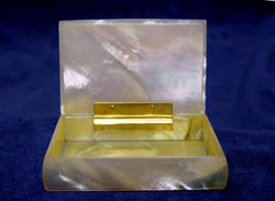 Antique French Napoleon III mother of pearl card case or box.