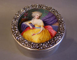 Antique Austrian silver and hand painted enamel box.