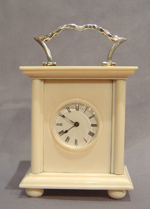 English Ivory & silver carriage clock.