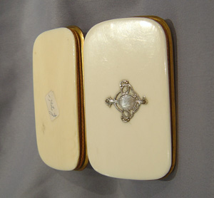 Antique French Napoleon III ivory and gilt metal purse.