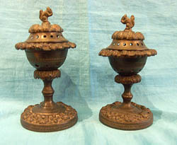 Pair of Antique English Regency patinated bronze pastille burners.