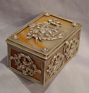 Antique Dutch silver and split agate box or casket.