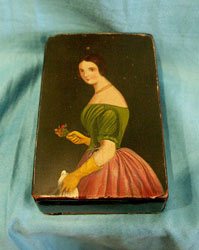 Antique English Geoge III period painted papier mache snuff box.