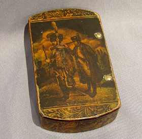 Antique English penwork snuff box with figure of Napoleon.