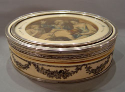 Antique French Napoleon III period silver & ivory box with watercolour.