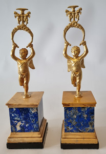 Pair antique English Regency Lapis lazuli and ormolu watch or miniature holders