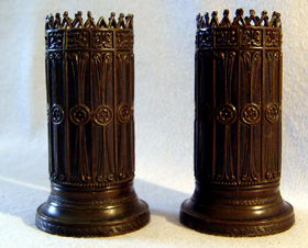 Pair antique English Regency spill vase in patinated bronze.