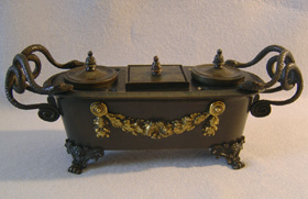 Antique English Regency inkwell in patinated bronze & ormolu