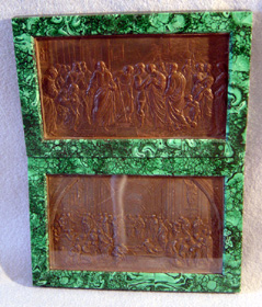 Pair Italian early 19th century malachite frames with bronze plaques by