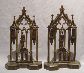 Pair antique late English Regency Gothic letter racks