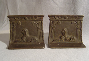 Antique pair English Egyptian Revival cast iron bookends.