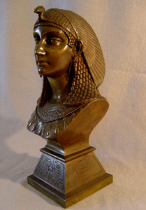 Antique French patinated bronze bust of Egyptian pharoah Amenophis.