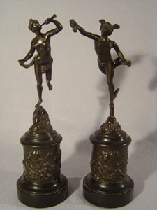 Antique pair of Italian Grand Tour bronzes of Mercury and Fortuna.