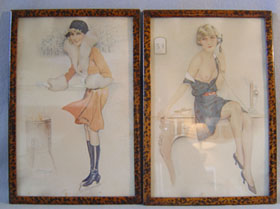 Pair of French saucy Art Deco tinted sketches of young women.