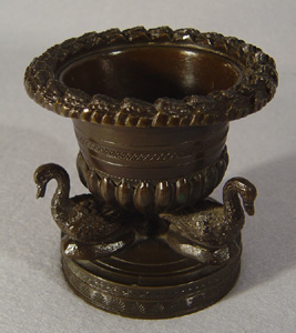 A fine antique English Regency patinated bronze pastille burner.