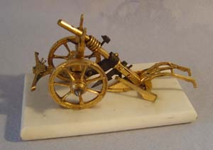 Antique English Victorian Arcadian ormolu and marble card or letter tidy in the form of a plough.
